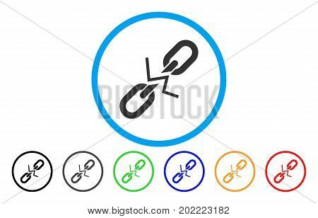 Broken Chain Link vector rounded icon. Image style is a flat gray icon symbol inside a blue circle. Additional color variants are grey, black, blue, green, red, orange.
