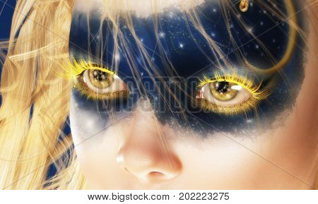 Digital 3D Illustration Of Fairy Eyes