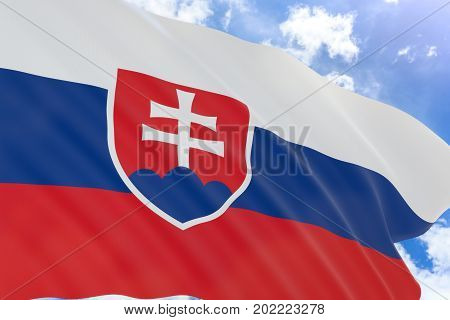 3D Rendering Of Slovakia Flag Waving On Blue Sky Background