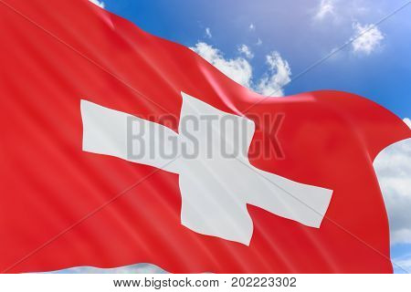 3D Rendering Of Switzerland Flag Waving On Blue Sky Background