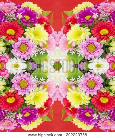 Defocus blurred of flowers on red background