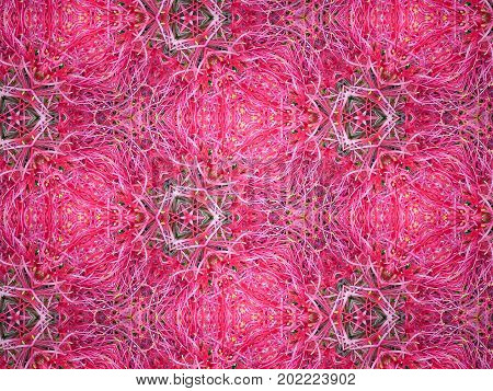 Beautiful abstract pattern kaleidoscope geometric style ornament texture background made from fractal flower for use at graphic design