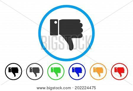 Thumb Down vector rounded icon. Image style is a flat gray icon symbol inside a blue circle. Additional color variants are grey, black, blue, green, red, orange.