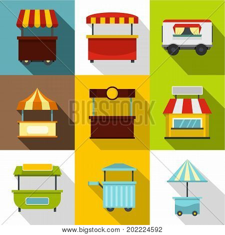 Market stall icon set. Flat style set of 9 market stall vector icons for web design