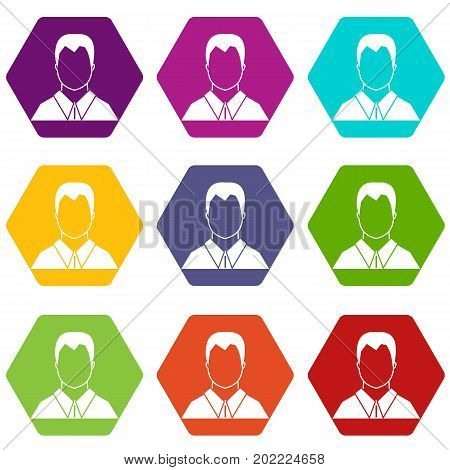 User icon set many color hexahedron isolated on white vector illustration