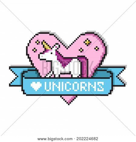 Pixel art heart with unicorn for badges or game design. Pixel unicorn with golden stars, ribbon and text. Love unicorns quote in game style design. Pixel art print for t-shirt, cards, posters.