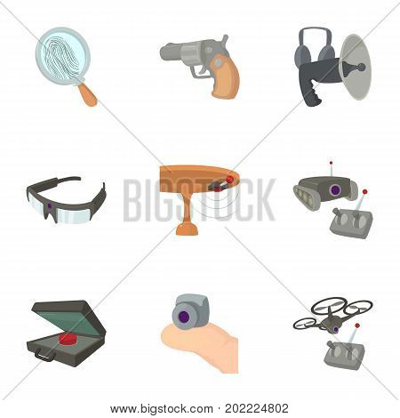 Spy agent icons set. Cartoon set of 9 spy agent vector icons for web isolated on white background