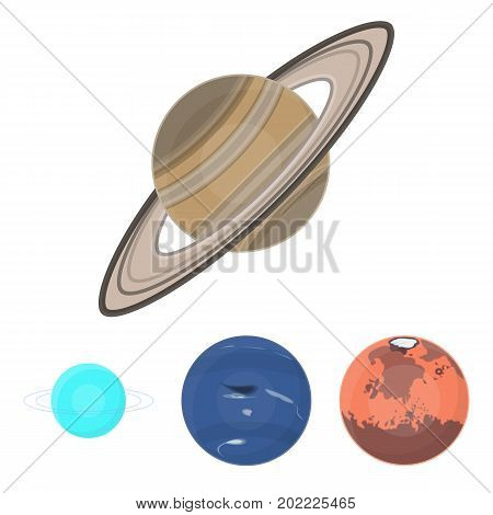 Neptune, Mars, Saturn, Uranus of the Solar System. Planets set collection icons in cartoon style vector symbol stock illustration .