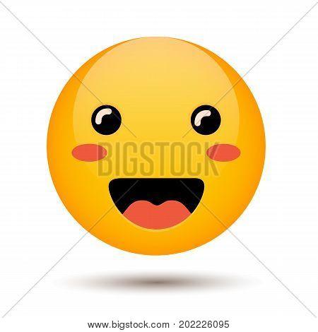 Happy emoticon isolated on background. Smile emoji. Vector stock.