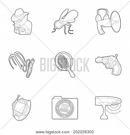 Top secret icons set. Outline set of 9 top secret vector icons for web isolated on white background