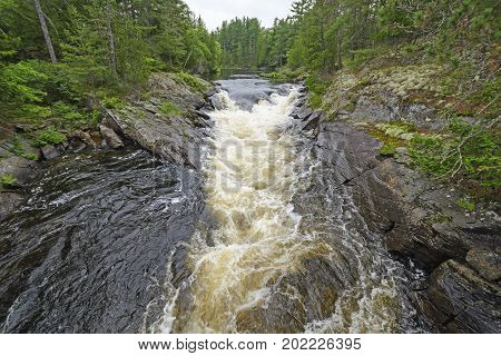 River Cutting Through North Woods Canyon in Chutes Provincial Park in Ontario