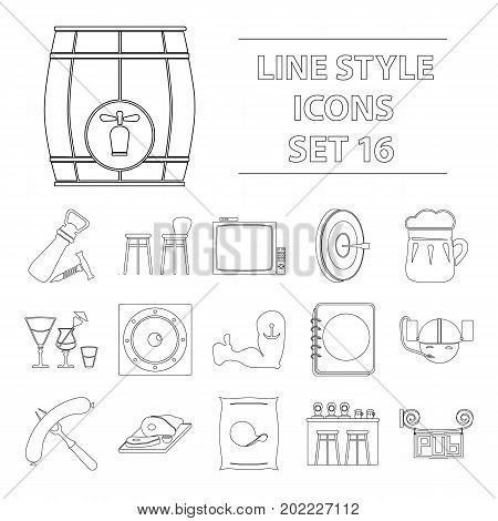 Cafe, party, alcohol, counter, food and other attributes of the pub.Pab set collection icons in outline style vector symbol stock illustration .