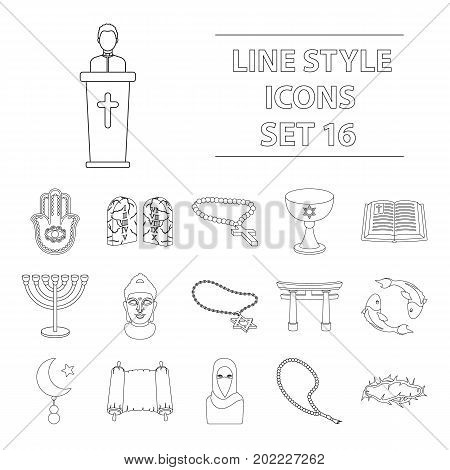 Religion set icons in outline style. Big collection of religion vector symbol stock