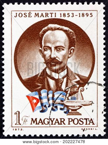 HUNGARY - CIRCA 1973: a stamp printed in Hungary shows Jose Marti Cuban National Hero and Poet circa 1973
