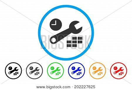 Date And Time Configuration vector rounded icon. Image style is a flat gray icon symbol inside a blue circle. Bonus color variants are gray, black, blue, green, red, orange.