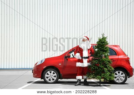 Authentic Santa Claus with Christmas tree standing near red car outdoors