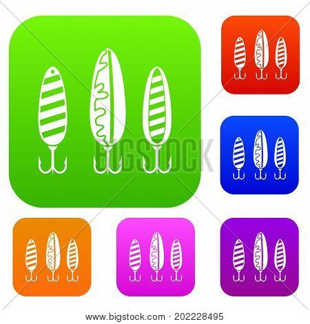 Plastic fishing lure set icon in different colors isolated vector illustration. Premium collection