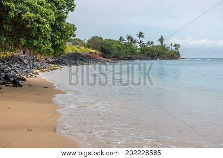 A view of the shoreline in the Kahana area of Maui Hawaii.