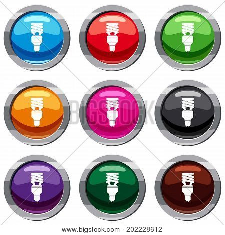 Energy saving bulb set icon isolated on white. 9 icon collection vector illustration