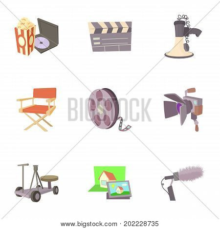 Movie production icons set. Cartoon set of 9 movie production vector icons for web isolated on white background