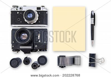 Mock-up - Retro camera film pen clip isolated on white background