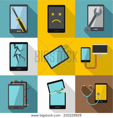 Repair phones fix icon set. Flat style set of 9 repair phones fix vector icons for web design