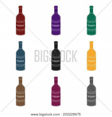 Glass bottle of vodka icon in black design isolated on white background. Russian country symbol stock vector illustration.