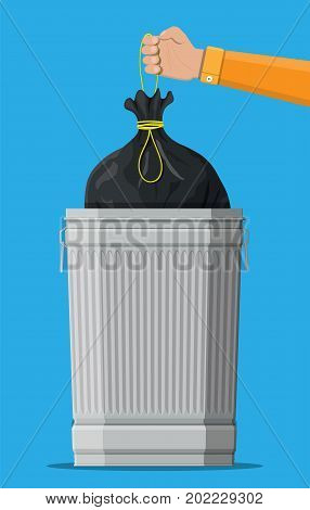 Huge waste trash can isolated on blue. Hand with bag for garbage. Metal bucket. Garbage recycling and utilization equipment. Waste management. Vector illustration in flat style