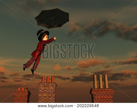 3d illustration of a boy flying with an umbrella