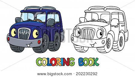 Offroader or SUV coloring book for kids. Small funny vector cute car with eyes and mouth. Children vector illustration