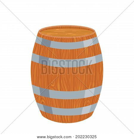 Wooden barrel . Isolated on a white background. Cartoon. Vector. Flat design.