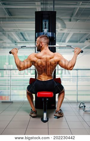 Young man flexing arm muscles on the arm press machine on a blurred light gym background. A shirtless man with perfect back exercising and building muscles. Workout, training, fitness concept.