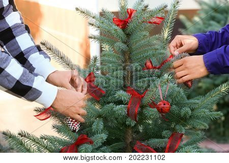 Two men decorating Christmas tree, outdoors