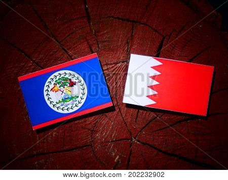 Belize Flag With Bahraini Flag On A Tree Stump Isolated