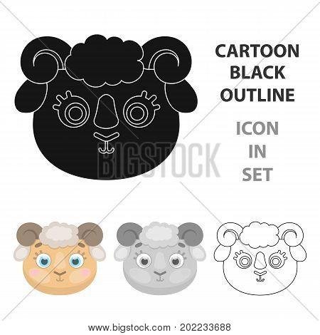 Ram muzzle icon in cartoon design isolated on white background. Animal muzzle symbol stock vector illustration.