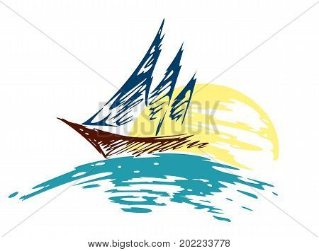 A sailing vessel logo in the sea from the dawn.