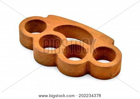 Brass knuckles on a white background close up