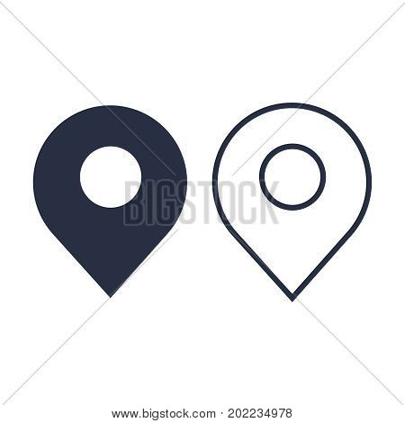 Map pin flat design style modern icon, pointer minimal vector symbol, marker sign. Pin icon vector. Location sign Isolated on white background. Navigation map sign for gps direction place or compass concept. Flat style for graphic design EPS10