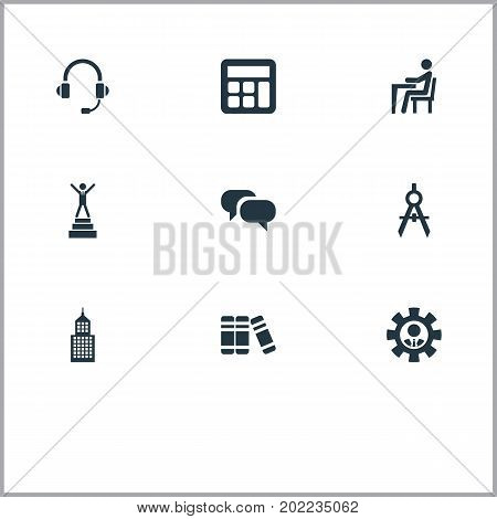 Elements Encyclopedia, Discussion, Architect Drafting And Other Synonyms Academy, Architect And Bubble.  Vector Illustration Set Of Simple Conference Icons.