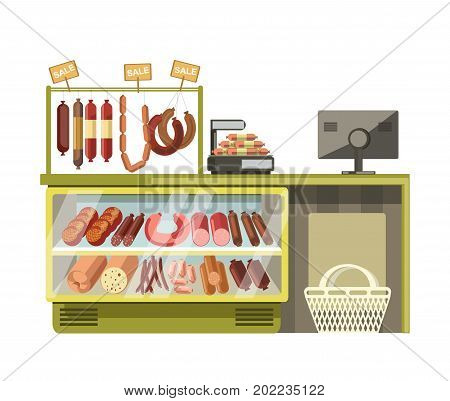 Sausages gastronomy or butchery meat shop counters in supermarket. Grocery store product stands or market booth display. Vector flat vendor racks with sale signs and shopping bag at cash desk