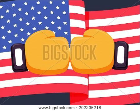 Cartoon yellow boxing glove icon, front.Vector illustration of fight of USA. American flag background and box fight concept. Boxer of United States win