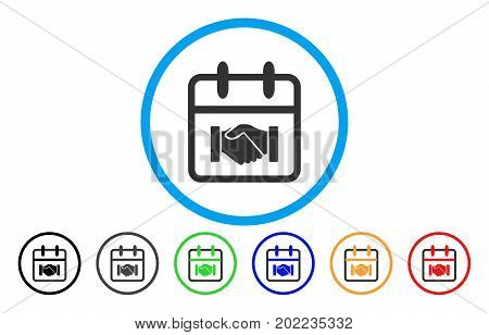 Contract Day vector rounded icon. Image style is a flat gray icon symbol inside a blue circle. Bonus color variants are grey, black, blue, green, red, orange.