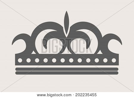 Crown royal diadem or tiara with ornate ornament pattern. Vector flat isolated icon of imperial heraldic crown on white background