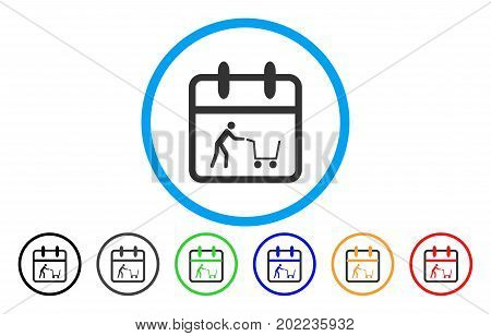 Shopping Day vector rounded icon. Image style is a flat gray icon symbol inside a blue circle. Additional color versions are gray, black, blue, green, red, orange.