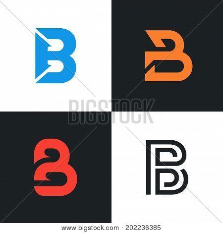 Logo B Letter Signs Set. Company Clean Symbol. Modern Elegant Icon.