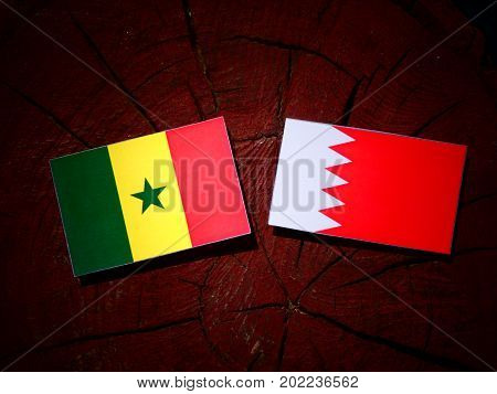 Senegal Flag With Bahraini Flag On A Tree Stump Isolated