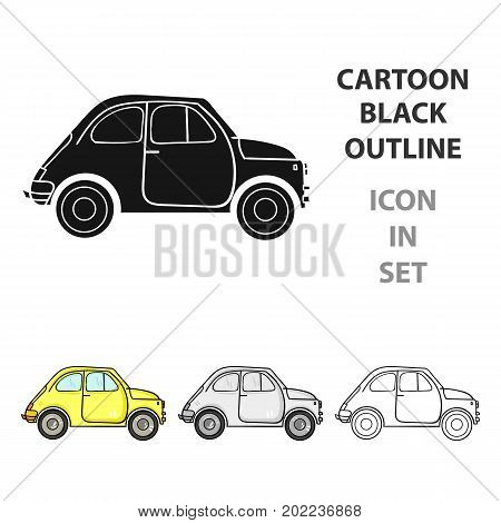 Italian retro car from Italy icon in cartoon style isolated on white background. Italy country symbol vector illustration.