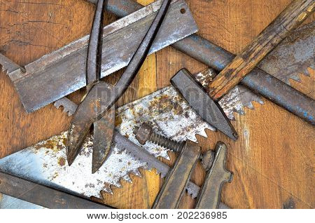 work tools on wood close up photo