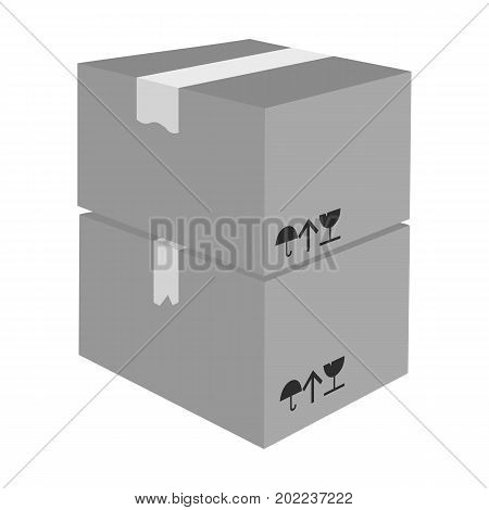 Packaged boxes with goods. Logistics delivery single icon in monochrome style isometric vector symbol stock illustration .