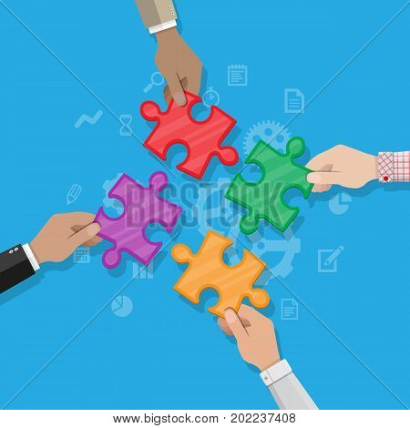 Hands putting puzzle pieces together. Teamwork and cooperation concept. Vector illustration in flat style